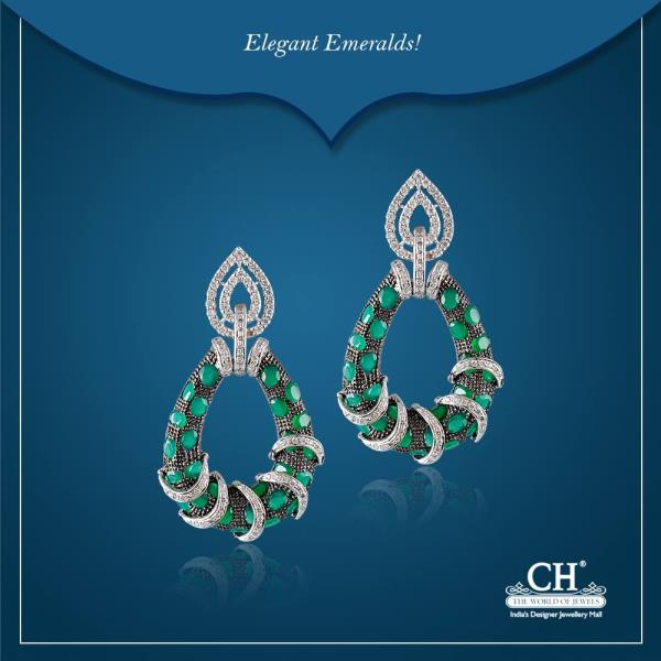 Elegance to your look with these Emerald Earrings.