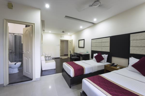 Hotel At home Suites is 50-rooms luxury serviced accommodation located in Gachibowli, behind DLF IT SEZ and very close to Financial District, Infosys, Microsoft, Wipro, ICICI and Q-City.
