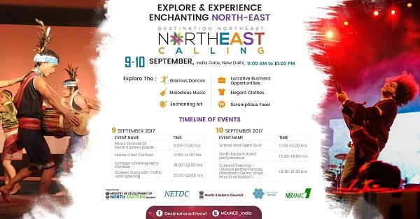 North East Calling 2017  North East Calling, a two-day cultural festival, has been organised by the Ministry of Development of North East Region (DoNER) for the purpose of promoting North East art, food, music and culture and also to enlighten Delhi people about the Sister States. This will be held at the iconic India Gate. As part of the festival, there will also be a quiz contest, a home chef contest, a video/photography contest and a choreography contest. Prizes include all expenses paid trips to the North East, Cash and a whole lot more.  As always, expect food stalls to be there for you to stuff your faces with. Smoked Pork, Eromba, Jadoh, Khar and a whole lot more of the Northeast Cuisine. These will be served by stalls represented by a diverse set of North East Speciality restaurants from across the city and also by Delhi Haat. Apart from edibles, they'll also have ingredients on sale. Accompanying the food stalls will be others selling handicrafts and Cane/Bamboo furniture (stalls of State Bhawans). Clothes designed by NIFT Shillong and international designers will be on sale at the Handloom pavilion and along with their traditional handloom products.  As an icing on the cake, there will also be live performances by bands and also a traditional dance on the final night. Famed Bollywood singer, Zubeen Garg, will also be on stage. Whether you're missing home, or just an outsider who wishes to learn more about the North Eastern sister states, this is THE event for you, where, not just nourishment for you tummy will be provided, but also for your soul!  Email for Competition Registrations: necalling@gmail.com  Entry: Free (Mooft, Gratis, On The House. You get the drift)  Dates: 9th and 10th of September 2017  Timing: 11 am - 10 pm  Address: India Gate  Explore More: https://www.delhipedia.com/Home/Category/Event