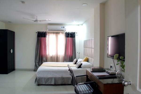 Athome Suites & At home apartment hotel designed to offer you luxurious living space for optimum comfort is well balanced with reasonable tariff for both short and long stay guests. It is one of the best-serviced apartments in Hyderabad.  Our well-defined service is crafted to meet home comforts and needs with professional services, spacious apartments as you reside in our Serviced Suites located on a sprawling residential neighbourhood.  Located close to everything you need, also giving convenient access to the rest of the city. Residents could hardly find an accommodation in a better location unlike any other in the city than Athome