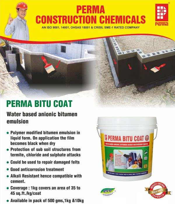 Waterproofing Products Manufacturers  PERMA  involved in offering a wide range of reliable Waterproofing Products to our valuable clients. We have been a pioneer and market leader in the field of consumer products and waterproof products across the globe. Our Waterproofing Products range is provided in different sizes that meet the individual requirement of our clients in the best possible manner across the globle.  PRIMARY USES  Perma Bitu Coat is used for waterproofing all types of RCC, brickbat coba, asbestos cement sheets and zinc/aluminium sheets etc. Perma Bitu Coat can be used for repairing the damaged bitumen felts, cracked stoneware drainage pipes. As a damp proof course applied under the first layer of bricks or block work in the masonry. As a waterproof coating externally applied on the basement walls, footings etc before back filling. As an anti corrosive and anti-termite coating in all subsoil structures before back filling. As a crack filler and repair waterproof coating on brickbat coba and on concrete roofs.  ADVANTAGES  Perma Bitu Coat is water based and hence not messy like conventional bituminous products. Perma Bitu Coat has high PH and hence more compatible with concrete. No cleaning solvents are required and can be washed off with water when it is still wet. Single component and easily brush applied. Can be used on wet surfaces and during rainy season.