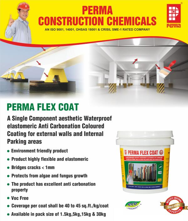 Acrylic Protective Coating Manufacturer  We manufacturer of Acrylic Protective Coating to our customers at comprehensive prices. We manufacture and also export this wide variety range of coatings with high quality to our valued clients across the globe. Our products manufacture in the name of PERMA and it is Eco friendly acrylic protective coating for external walls which protects the walls from algae, fungus, polluting the atmosphere and make them waterproof.  PRIMARY USES  Perma Flex Coat is used to provide an anti-carbonation coating to the walls and ceilings of parking decks in the multistoried structures. It is an ideal coating for multistoried car parks. Perma Flex Coat is used to provide a waterproof and anti-carbonation coating for the external RCC walls as well as masonry walls. Perma Flex Coat is applied to external wall surfaces to make them resistant to algae, fungus, carbonation, UV and IR rays from the sun. Perma Flex Coat is used to make the external colored finish long lasting.  ADVANTAGES  Perma Flex Coat not only protects the structure against corrosion but also waterproofs the treated surface. Perma Flex Coat is water based, hence easy to apply with brush, roller or airless spray and is non-toxic and environment friendly. Perma Flex Coat can be built up to thicknesses and with proper rollers architectural texture finishes can be achieved. Perma Flex Coat makes the surfaces algae and fungus free and protects the RCC walls from carbonation attacks.