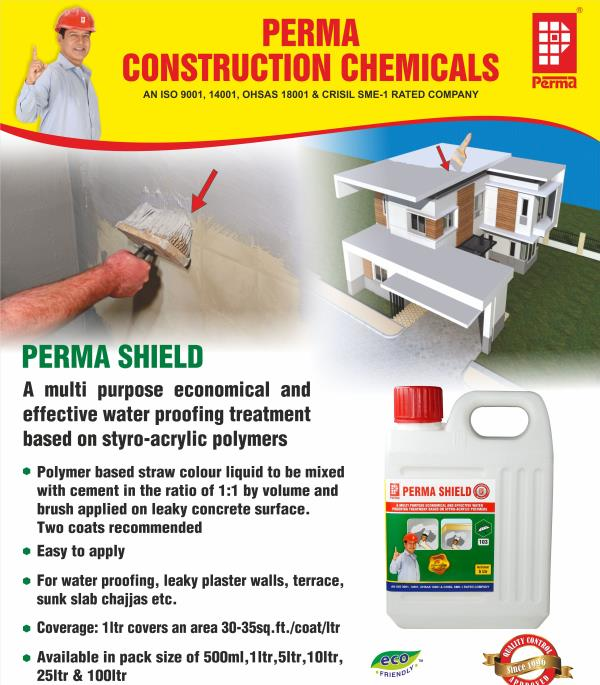 Polymer Based Waterproofing Products  With manufacturer and export a huge range of Waterproofing Prodcts which is manufactured using premium quality materials. We offer these products as per the need of clients in various water resistant applications for different purposes like concrete and mortar surfaces to prevent leakage and dampness. Our range of this is highly acclaimed for its easy to clean and wash and less maintenance features.  PRIMARY USES  For waterproofing terraces. For arresting rising dampness. For Protection of exposed reinforcing steel rods. For water proofing leakages from toilet units and sunk slabs. For water proofing damp walls. As an effective paint additive. For waterproofing porous plaster surfaces.  DIRECTIONS FOR USE  Seepages and dampness through walls. Remove the entire plaster. Apply one coat of plaster and cure it for 7 days. Apply one coat of Barrier coat and immediately complete the second coat of plaster and cure normally. Leakage from sunken slabs of toilets. Stop the use of upper floor toilet till the dripping stops. Remove the plaster or scrape the concrete. If the surface to be applied is concrete only which is sound then use the surface directly. Apply two Barrier coats and plaster the surface immediately. Terrace waterproofing. On the prepared terrace surface apply two Barrier coats or one Barrier coat followed by Plaster or IPS. For protection of exposed reinforcing steel. Clean the rods and apply two Barrier coats.  AS AN EFFECTIVE PAINT ADDITIVE Perma Shield dramatically modifies coloured cement paints and white cement used in painting. Perma Shield is added along with water in the powder paints at a dosage of 5 litres per 50 kg of powder paint or white cement.