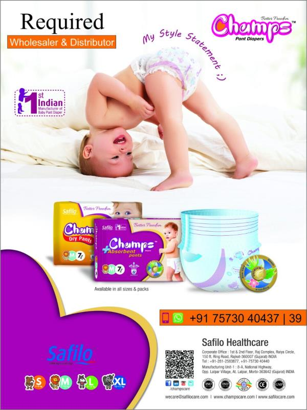 required distribure and wholesaler for Tamilnadu and Karnataka  Features: Leakage Prevention ADL Technology upto 12 hour high absorbency Nice Fregnance  contact:7573040439/7573040437 email:wecare@safilocare.com  Diaper | Wholesaler in tamilnadu | wholesaler in Karnataka | distributer in tamilnadu | distributer in karnataka | Pant Diaper | disposable Diaper