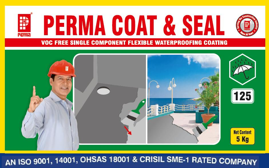 Construction Waterproofing Material   Perma Coat & Seal is a single component polymer modified cementitious waterproof coating with a very wide range of applications. It is a waterproofing and corrosion inhibiting coating very useful on a variety of building material surfaces. It can be easily applied on RCC, PCC, Brick/Block work, Asbestos cement sheets and even metals.  PRIMARY USES  Perma Coat & Seal is useful in achieving foolproof waterproofing on a variety of building structures whether new or old.  It is highly effective in waterproofing on both positive and negative sides of leaky structure.  Perma Coat & Seal is highly elastomeric in nature and has crack bridging ability up to 0.5mm.  The product is non toxic, environment friendly and hence can be coated successfully in potable water tanks for arresting severe leakages. ADVANTAGES  Perma Coat & Seal is UV resistant hence suitable for coating on bridge decks and girders for preventing carbonation of reinforcing steel.  Perma Coat & Seal is a single component product which needs only on site addition of water. Hence it is user friendly and easy to apply.  The product has a very strong adhesion to variety of building surfaces.  Perma Coat & Seal is highly effective in waterproofing and does not leave the surface as it allows the concrete to breathe normally.