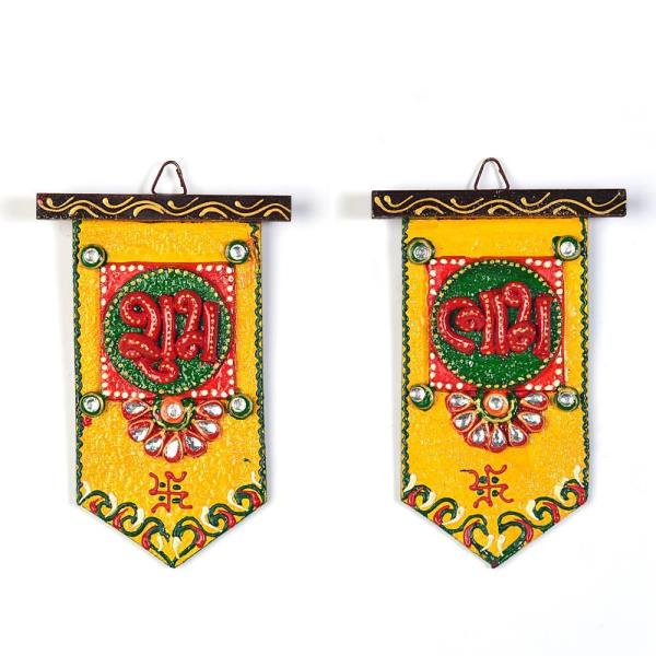 Buy Wooden Crafted Unique Shubh Labh Door Hangings Online in Aurangabad  This Beautiful handcrafted shubh labh door hanging is made up of wood and decorated with kundan meenakari work. The door hanging is an ideal decorative piece for your home. The gift piece has been prepared by the creative artisans of Jaipur.  Click on the below link to view the product:  http://littleindia.co.in/wooden-crafted-unique-shubh-labh-door-hangings-275/p555