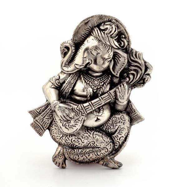 Buy Oxidized White Metal Lord Ganesha Sitar Idol Online in Aurangabad  This handcrafted antique idol of Lord ganesha in Sitar playing posture is made of pure oxidized white metal. The idol is polished to give it an alluring antique look. It is also an ideal gift for your friends and relatives. The gift piece has been prepared by the creative artisans of Jaipur.  Click on the below link to view the product:  http://littleindia.co.in/oxidized-white-metal-lord-ganesha-sitar-idol-312/p409