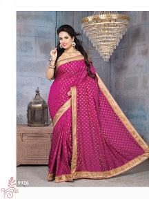 Prominent Rani color Nylon Banarsi Zari Jacquard art silk saree with , zari work and patch border to make a mark in the world of style.  http://www.silk-india.com/en/designer-sarees/1033--yellow-faux-georgette-brasso-saree-with-blouse.html