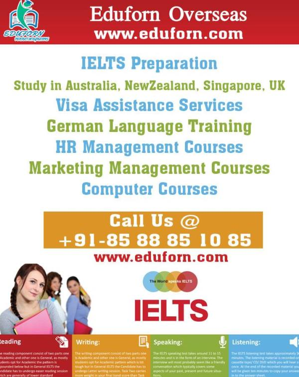 IELTS Tutorials  We at Eduforn provide the best training for IELTS as we have the Certified Trained Trainer from British Council.  For further queries for IELTS refer to our website www.eduforn.com