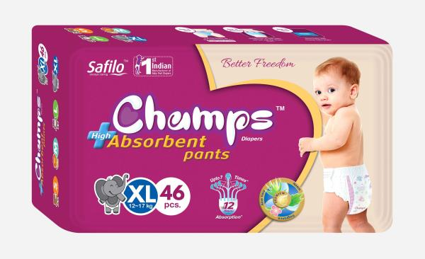The Best pant style diapers from Champs, with an outer layer of cotton-like softness, this baby diaper provides intense care to your baby's sensitive skin and protects it effectively from friction rash and redness. These soft and comfort fitting diapers with stretchable sides are best for your baby's rest and playtime. Protection and nourishment of your baby's skin are taken care of with extracts of moisturising Aloe Vera lotion, characteristic of these best baby diapers. These diapers are ultra-thin, thanks to the ACQUISTION DISTRIBUTION LAYER (ADL). This ADL is core of Champs diapers is highly effective in absorbing frequent wetness. Naturally your baby's skin remains dry for upto12 hours , now no more frequent diaper changing or blow leaks for your little