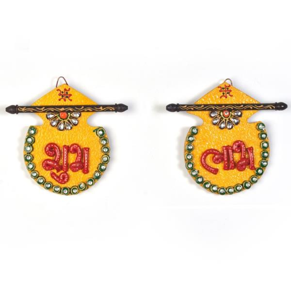 Buy Designer Kundan Matki Shubh Labh Door Hanging Online in Bareily  This Beautiful handcrafted shubh labh door hanging is made of matki shape wood and decorated with kundan meenakari work. The gift piece has been prepared by the creative artisans of Jaipur. The door hanging is an ideal decorative piece for your home. It is also an ideal gift for your friends and relatives.  Click on the below link to view the product:  http://littleindia.co.in/designer-kundan-matki-shubh-labh-door-hanging-255/p554