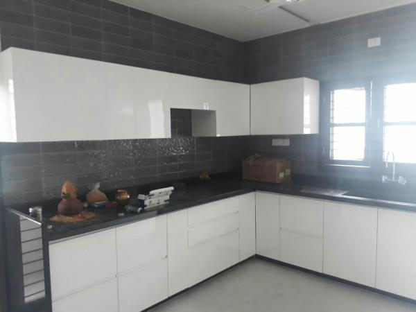 Sai interior recent kitchen work done   Finish ::glossy laminate with sainik plywood 16mm thick with 2mm edge bind factory finish with five years warranty