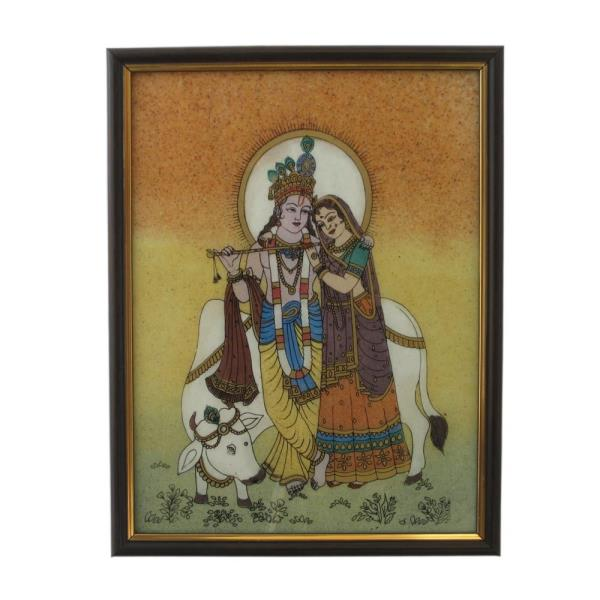 Buy Divine Lovers Radha Krishna Gemstone Painting Online   Artistically designed Rajasthani Wooden Frame Gemstone Painting of Lord Radha-Krishna who are a perennial source of inspiration to lovers. This embllished frame is enhanced with Gemstone painting in beautiful Radha & Krishna posture while playing the flute. The painting of divine lovers framed in Italian wood with a golden bevel. A special resin is used to bind the powdered gemstones into a paint.  It is an exclusive showpiece for your drawing room; sure to be admired by your guests.  Click on the below link to view the product:  http://littleindia.co.in/divine-lovers-radha-krishna-gemstone-painting-138/p463  We are Jaipur (Rajasthan) based Largest Manufacturer and Wholesaler of Divine Spritual Radha Krishna Painting. We Export Radha Krishna Gemstone Painting all Over the World. We provide Best Quality Gemstone Painting Radha Krishna. We have wide range of Value for Money Krishna Radha Gemstone Painting. This Gemstone Handicraft Painting is prepared by village Craftsman and woman of Rajasthan. Visit our Jaipur factory outlet for Comprehensive Range Of Decorative Items.