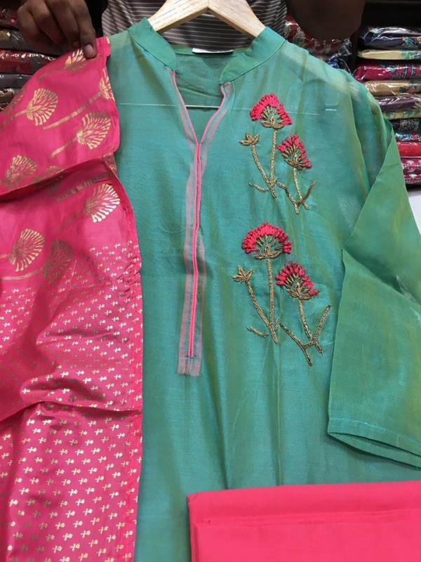 Chanderi shirt with handwork   Chanderi shirt with handwork  With cotton bottom and Duppata Single price 1595/- Call and WhatsApp on  9811116698