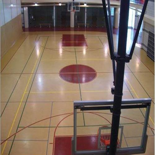 Wooden Basketball Court  We Sundek Sports Systems are manufacturers of Wooden Basketball Court in Mumbai.  As well as in India. Product Details: Brand	Sundek Location	Maharashtra  Dimension of Wooden Basketball Court is: Length of a basketball court -94 feet (1128 inches) Width of a basketball court- 50 feet (600 inches) Size of a basketball backboard -> Width: 6 feet (72 inches) Height: 3. 5 feet (42 inches) Size of a basketball rim -> The diameter of the rim is 18 inches The top of the rim should be exactly 10 feet (120 inches) off the ground Distance from the backboard to the back of the rim 6 inches  Sundek Air-Cush Wooden Sports Flooring (Indoor):  After completion of the civil construction, we undertake to lay out the Sundek Air-Cush Wooden Flooring System wherein we use kiln dried fsc certified imported oak, teak, maple or beech wood surface board and the base frame of imported fir, spruce or pine wood. The bona anti-skid polish coatings used is din certified. We also undertake civil construction and lighting requirements. All other accessories related to the arena are also available with us.