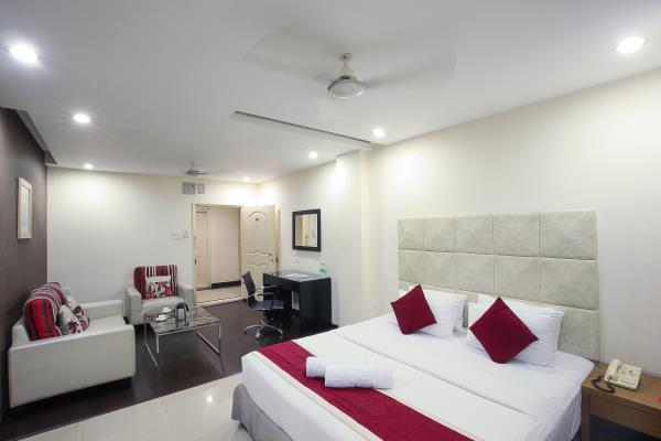 The Athome apartment Hotel & Athome suites is one of the best luxury star best hotels in Hyderabad located in the lush green environs of Gachibowli, inarguable the most upscale address of Hyderabad, in close proximity of the main educational institutions, IIIT , Univercity of Hyderabad & ISB and business hub in Gachibowli .Athome Hotel is at a distance of 28 km from Hyderabad Airport, 15 km from the Railway station. The hotel has a serene ambiance for both business and leisure travelers offering pure luxury of contemporary interiors and modern world cuisine. The accommodations at our hotel is spacious with in-room comforts such as elegant bathrooms with modern fixtures, Flat-screen TV with satellite channels, Tea/coffee maker, Electronic safe, Free daily newspapers and elegant wooden flooring. We also provide you with Conference & Banquet facility, Business center, Free WI-FI internet, Express laundry service and 24 hrs room service.  Athome hospitality group's hotel is the highly motivated and well-trained staff that provides the kind of attentive and caring service that is rare today.  For a more budgeted option, This website www.athomehyd.com shall provide you with all the information on our services and tariff.