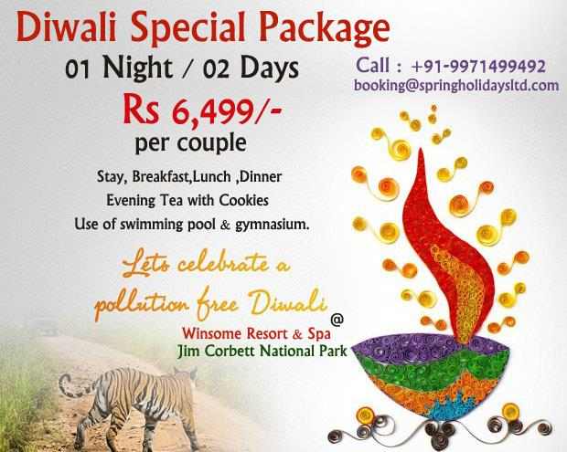 Book Now for Diwali Special Package ...n Get Discount ....DIWALI SPECIAL PACKAGEFOR 01 Night / 02 Days@ Rs 6499 per coupleStay +Breakfast +Lunch +Dinner + Evening Tea With Cookies +Free Use of Swimming Pool +Free Use of GymNote  : 18% GST Extra