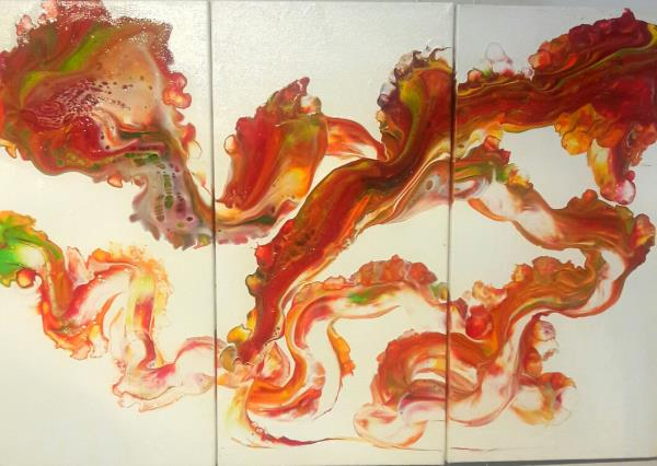 Buy original painting. Unique and innovative triptyc. Acrylic on canvas panels 24