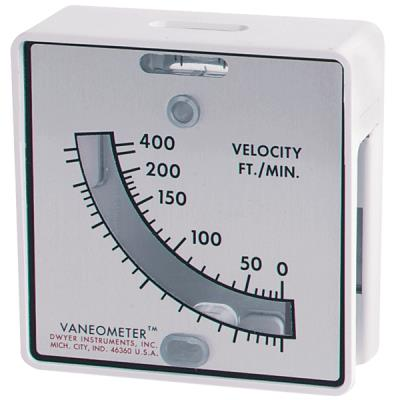 "The 480 Vaneometer ""Swing Testo Vane Anemometer"" is a durable low-priced instrument specifically designed to simplify the measurement of low air velocities from 25 to 400 feet per minute. OSHA, EPA and other safety ventilation requirements for spray booths and at fume, smoke and dust exhaust hoods can now be quickly checked, even by untrained personnel. Its small size and light weight - only four ounces make it ideal to carry from one work station to another. A versatile steel mounting bracket for continuous monitoring is also included. The Vaneometer™ Swing Vane Anemometer is accurate to ±5% of full scale to 100 FPM and ±10% from 100 FPM to top of scale. It has a spirit level to ensure accurate readings and the large scales are easy to read and visible from both sides. The housing is molded from tough ABS plastic and easy to clean with soap and water. The polyester vane can be cleaned with lacquer thinner. A spare vane is provided. Use a Vaneometer™ Swing Vane Anemometer to measure velocity of air flow into laboratory fume hoods and at paint spray booths to determine when to change filters. Or wherever needed to meet OSHA standards of ventilation for smoke, dust or fume removal."