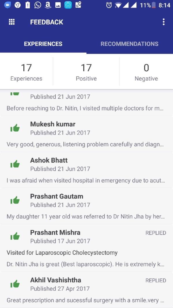 Thanks to  my patients for a positive feedback on PRACTO.