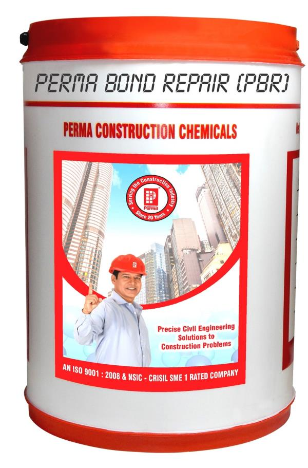 Structural Repair Chemicals  We are leading manufacturer of Structural Repair Chemicals in india. Perma Bond Repair (PBR) is used as a Structural Repair Chemicals it is an aqueous emulsion of styrene butadiene co-polymer SBR latex, specially formulated for use with cement. PBR modifies the property of cement in mortars and in concrete to make them perform better. Useful for repairing of RCC beams, columns, slabs & other RCC members.  PRIMARY USES 1.	Concrete and floor screed repairs. 2.	Corrosion protection of steel. 3.	Floor screed and topping. 4.	Bonding old concrete to new concrete. 5.	Waterproofing and tanking of basements.  PACKING  Perma Bond Repair (PBR) is available in 25 Litre, 100 Litre and 200 Litre Packing.