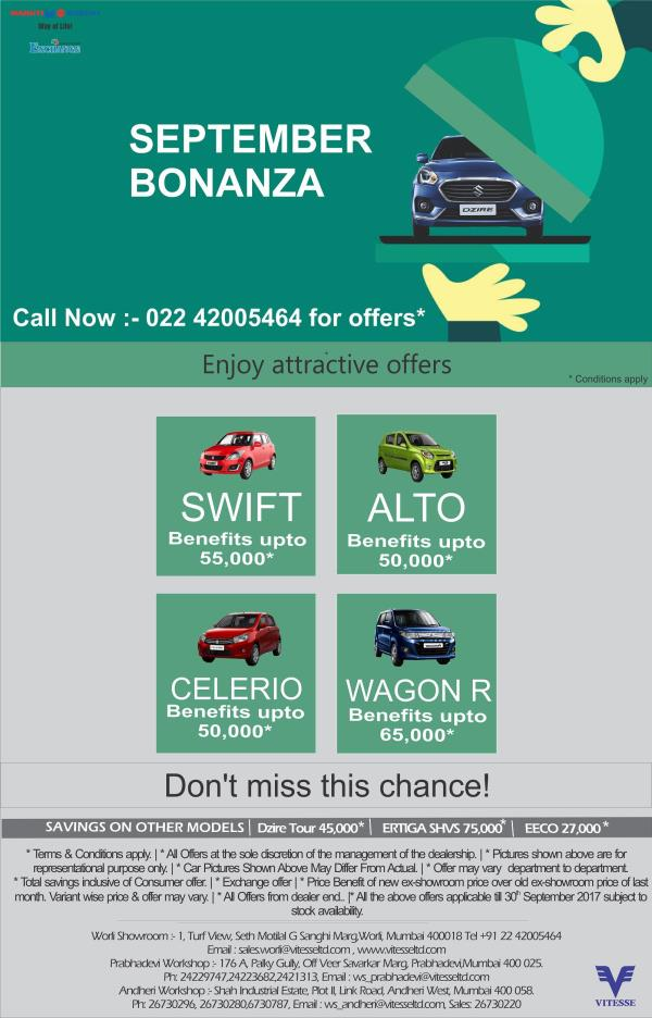 Offers ending GRAB it soon... Welcome to Vitesse Worli and Grab your Dream Maruti Car or visit us on www.vitesseltd.com