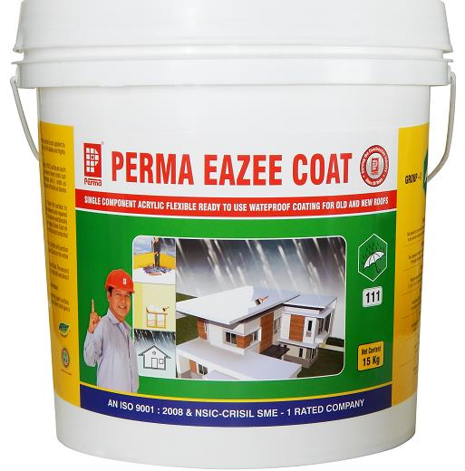 Elastomeric Roof Coatings  Perma Eazee Coat is used for Elastomeric Roof Coatings application.  Perma Eazee Coat is a milky white liquid which can be brush applied to most structural surfaces to make them waterproof. The coating is UV stable and highly flexible. PRIMARY USES Perma Eazee Coat is used for waterproofing all types of RCC surfaces such as roofs, chajjas, parapet walls and external walls. Asbestos cement sheets roofs can also be waterproofed using scrim cloth at the junctions, overlaps and J- bolts as reinforcement. As a damp proof course applied under the first layer of bricks or blocks in masonry works.  ADVANTAGES  Perma Eazee Coat can be applied directly from the can. Perma Eazee Coat cures & give a permanently flexible and resilient surface resistant to a wide range of temperatures. No cleaning solvents are required and can be washed off with water when it is still wet. Single component and easily brush applied. Can be used on wet surfaces and during rainy season. Mechanical damages to the membrane can easily be repaired by spot application. The membrane allows the concrete surface to breathe. Seamless application no joints are requried.  DIRECTIONS FOR USE  Waterproofing normal concrete: Clean the surface to remove all loose particles and any deleterious matter. Repair all cracks, honeycombs and blemishes from the concrete surface. Brush-apply Eazee Coat primer on the entire surface liberally. Primer is prepared by diluting one part by volume of Eazee Coat with one volume of water. When the primer coat is just dry apply the second coat running the brush perpendicular to the first coat. Provide fibre-glass or scrim fabric at junctions of vertical and horizontal surfaces after one coat then apply the second coat. On asbestos sheet roofing: Provide scrim or fibre-glass fabric at J bolts and junction of sheets over one coat of bitu Coat and then brush apply Eazee Coat on the entire surface in two coats. Damp proof course: On the cleaned plinth apply two coats of Eazee Coat. The second coat is applied after about four hours of the first coat. When the second coat is still wet blind it with clean sharp sand to provide mechanical key. Note: Stir the material well in the container before use.