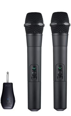 Wireless 2.4GHz Dual Handheld Microphone  The W200b StageMike is a professional vocal microphone set using a digitalized 2.4GHz band. The package includes 2 wireless microphones, a receiver, and accessories. After plugging the portable receiver into the sound equipment, the microphone can be used. Utilizing the automatic frequency-hopping technology, makes the StageMike a plug-n-play and easily operable device with no further adjustments needed. With its non-compression signal, high quality audio, receiving stability, and long-lasting battery, StageMike is excellent for lecturing, performances, and more. Microphones are in abundance at events like the World Expo, the Olympic Games, and even at music festivals and fairs. However, the W200b's exclusive signal modulation and channel partition technology eliminates interference from nearby microphones, allowing for more than 10 microphones to be used in the same venue without consequence to you. WR20 Portable Microphone Receiver From a theater stage, to an exhibition center, this receiver's 6.3mm connector is able to plug into any amplifier system without additional setting adjustments required. Not only can it be plugged into amplifiers in any venue, but with the 3.5mm extension connector and XLR accessories, your microphone is capable of connecting to iPhones and other professional equipment. The rechargeable Li-Polymer battery included in the receiver assures you up to twelve hours of playing time.