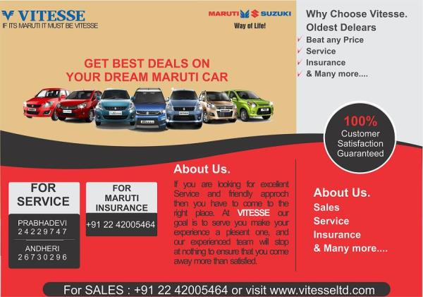Happiness on Wheels with Vitesse. Drive Home Your Dream Maruti Car this DIWALI.... Maruti Car Sales, Service   www.vitesseltd.com