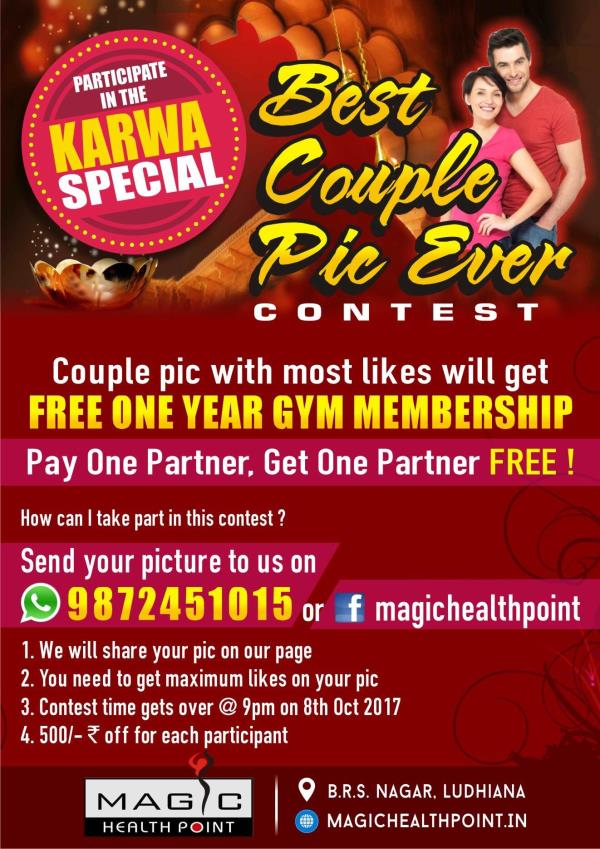 ANYBODY CAN PARTICIPATE 🙏🏻🙏🏻 Couple pic with most LIKES will get  FREE one year gym membership ! PAY ONE PARTNER , GET ONE PARTNER FREE 👍  How can I take part in this contest ? 1. Send your couple picture to us @ whatsapp 9872451015 or this Facebook page . 2. We will share your pic on our page . 3. You need to get maximum likes your pic . 4. Contest time gets over @ 9pm on 8th oct 17 . 5. 500/- rs off for every participant . *T& C apply !