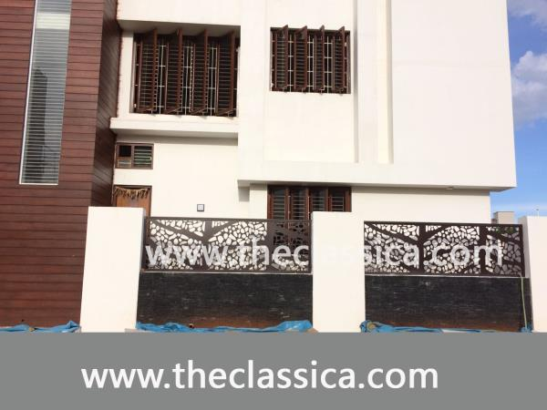 Infill decorative Laser Cut Panels  We can accommodate any size gaps between brick pillars with our custom design range. #architecture #buildingsupplies #contemporarydecor #decor #decorative #designinspiration www.theclassica.com 9787332222