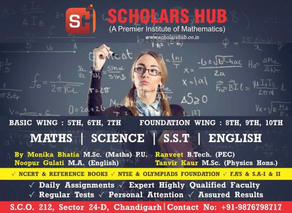 Scholars Hub is a professional coaching institute in Chandigarh for 8th 9th 10th Maths and Science. 11th Non Medical and Commerce Coaching is provided at Scholars Hub by highly qualified and experienced faculty in Chandigarh. Best Non-Medical and Medical Coaching Institute  9th 10th Maths Science Tuitions in Chandigarh  Commerce classes in Chandigarh