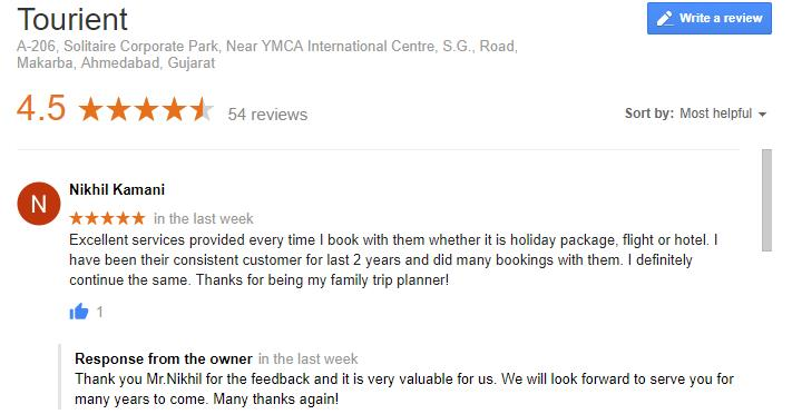 Tourient Reviews - Moment of happiness when customer shares feedback with us!  Excellent services provided every time I book with them whether it is holiday package, flight or hotel. I have been their consistent customer for last 2 years and did many bookings with them. I definitely continue the same. Thanks for being my family trip planner!