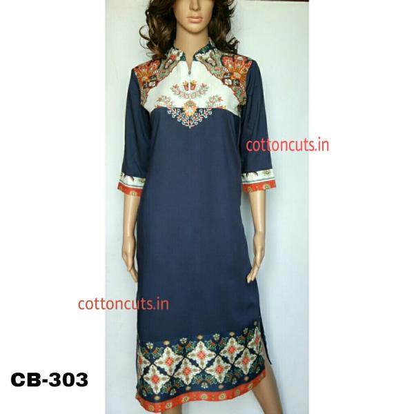 Things are made complicated when we speak less and are made more complicated when we speak more.Let the talking of your mind be assigned to varied designer casual wear kurtis fabricated in various fabrics like Cotton Cambric, Cotton Chambray, Viscose Cotton, Linen, Cotton Slub, Rayon, Rayon Slub, Flex, Daboo prints on cotton and cotton satin etc.The ingredients of fashion in our designer casual wear Kurtis are perfectly woven words stitched in threads of elegance and aura you carry.Our designs will assure you that you will never run out of expressions in speaking your mind even in most difficult times. So what are you waiting for! Rush to any nearer retailer of ours who has precured designers Kurtis from us at most competitive Wholesale prices to pass you the benefits of same in in making up final retail prices. Believe us, the objective of retailers too remains the same like ours; Spreading Happiness!