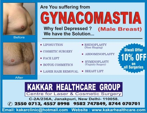 Gynacomastia Surgery  Gynacomastia surgery is also known as male breast surgery.Special diwali offer this year.Get 10% off on all surgeries.  for more info:http://www.kakarhealthcare.com