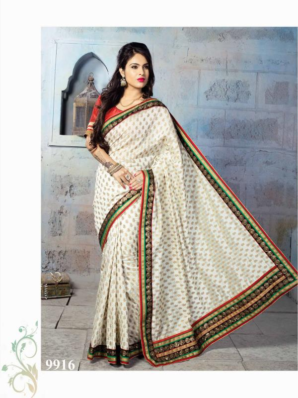 Glamorous Cream color silk with Nylon Banarsi Zari Jacquard Saree with and zari border is sure to make you look your best.  http://www.silk-india.com/en/designer-sarees/1024--yellow-faux-georgette-brasso-saree-with-blouse.html