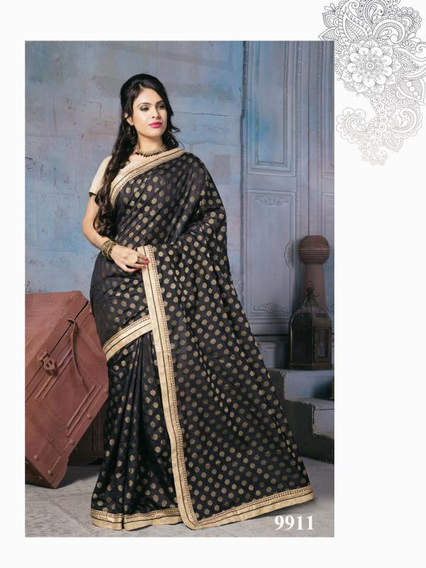 Magnificent Nylon Banarsi Zari Jacquard silk saree in Black color with self zari motif pallu bottom is to make you look very stylish and graceful  http://www.silk-india.com/en/designer-sarees/825-beige-poly-saree-with-traditional-heavy-zari-cod-dori-embroidery-blouse-.html