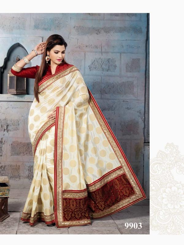 Delectated Cream & Beige color raw silk s Nylon Banarsi Zari Jacquard Saree is garnished with resham, zari, kundan work paisley motif and fancy patch border is absolutely amazing.  http://www.silk-india.com/en/designer-sarees/817-beige-poly-saree-with-traditional-heavy-zari-cod-dori-embroidery-blouse-.html