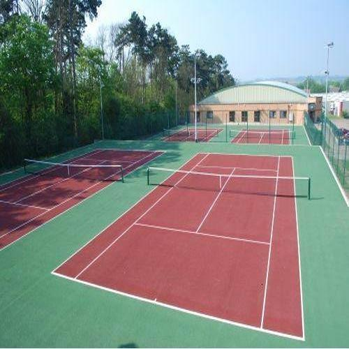 Tennis Outdoor Courts  We Sundek Sports Systems are manufacturers of Tennis Outdoor Courts in Mumbai.  As well as in India. Product Details: Brand	Sundek  For an ideal synthetic surface one needs to have an asphalt base as it is an joint less surface and also can withstand extreme temperature variations. There is a good liking between an asphalt base an synthetic surface as both are joint less surfaces. Sport Master surfaces are technically advanced, 100% acrylic sports surfaces. Sport Master systems are designed to provide maximum comfort while playing with best cushioned effect with an consistent speed and an even ball bounce. Sport Master tennis surfaces are formulated to resist fading and withstand a variety of weather conditions from ice and snow to intense heat and ultra-violet rays. It is also an anti glare and anti skid surface which improves ones performance and reduces injury scares. According to international standards the size of tennis court is 36.58 mts x 18.30 mts which includes playing area and non playing area.  The surfaces available for an ideal tennis court are:  100% Acrylic Synthetic Surface Synthetic Grass SBR (Styrene Butadine Rubber) Synthetic Surface