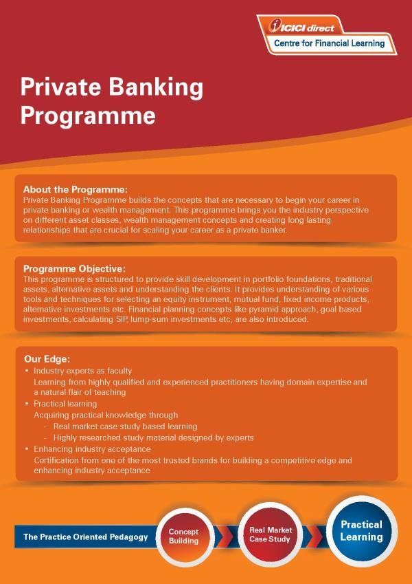 Private Banking Program  Offered By:- IMI Delhi & ICICI  Duration:- 1 Year  Schedule:- Weekend Program  Last Date:- 15/Oct/2017 (Sunday)  Application Fee:- INR 10, 000/- (Refundable, If not selected)  Payment Mode:- DD/Online  For Details:- http://ifem.co.in/pages/iciciprivatebankingprogram/59d0919fb9b690126881db8f