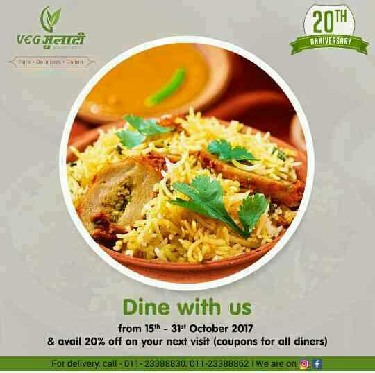 Celebrating 20 years  Add a dash of fun to your celebrations! Come over at Veg Gulati and get 20% off on your next visit! Contact us - 011- 23388830, 011-23388862 #Foodie #Food #FoodLover #Hungry #Biryani