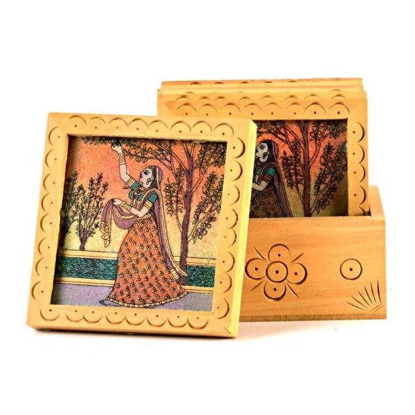 Buy Unique Gemstone Painted Square Tea Coaster Set Online.   The beautiful and traditional set of six wooden handcrafted square shaped tea coasters with wooden box is an elegant pick for home decor whether it is your drawing room or dining space. The utility item is handmade with finely crushed real gemstones on a glass base by the master artisans of Jaipur.  Click on the below link to view the product:   http://littleindia.co.in/unique-gemstone-painted-square-tea-coaster-set-212/p453