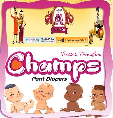 HURRY!!! Last 2- Days Offer on CHAMPS PANT DIAPERS Big Discount Upto 37 %... Grab It now before it ENDS on 17th Oct.2017 Catch on AMAZON GREAT INDIAN SALE https://www.amazon.in/s/ref=nb_sb_noss_2?url=search-alias%3Daps& field-keywords=CHAMPS+DIAPERS  BE INDIAN !!! BUY INDIAN !!!!   FOR MORE INQUIRY CONTACT ON  MOBILE : +91 7573040437 / 39  E-MAIL : WECARE@SAFILOCARE.COM  KEYWORDS: PANT DIAPERS| DIAPERS ON AMAZON| PANT STYLE DIAPERS ON AMAZON|  DIAPERS| OFFERS IN DIAPERS|