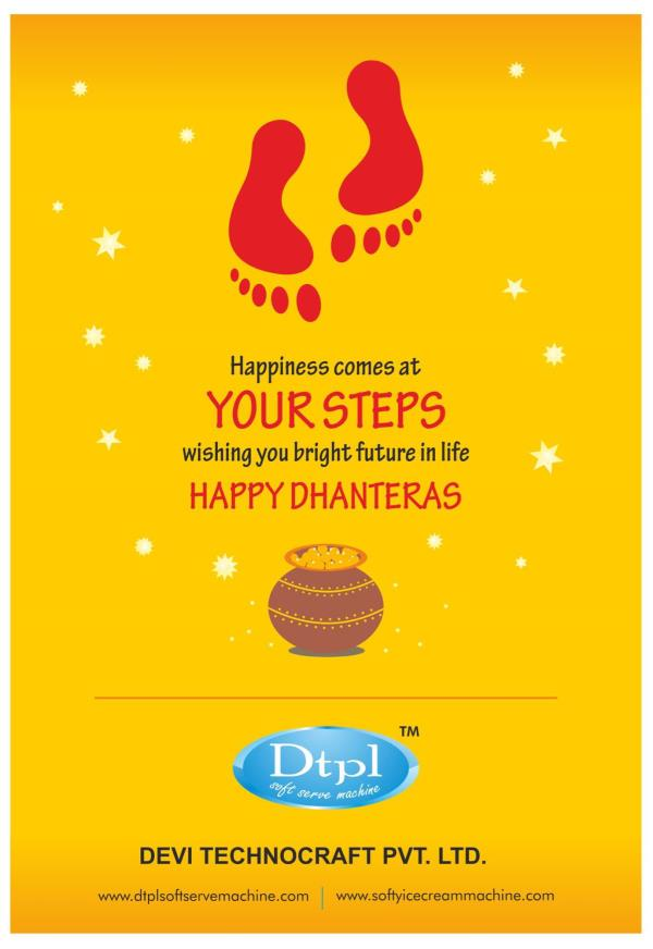 Dtpl leading manufacturer of ice cream machines wish you all Happy Dhanteras