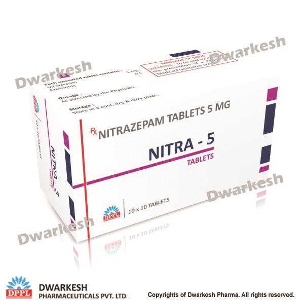 Dwarkesh Pharma do contract manufacturing of Nitrazepam Tablets 5 mg in India.