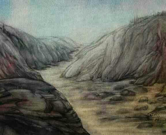 Unseen path, water color on paper, wash technique,  Buy original paintings at Uchaan art gallery, Gurgaon Pathway creats a illusion of closeness of destination, but it seems to neverending road..