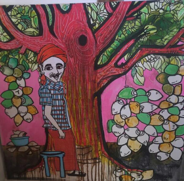 Our new arrivals  Mango trees 3' x3 ', Acrylic on canvas  Buy original paintings at Uchaan art gallery  Gardner is always behind this beauty of fruits.