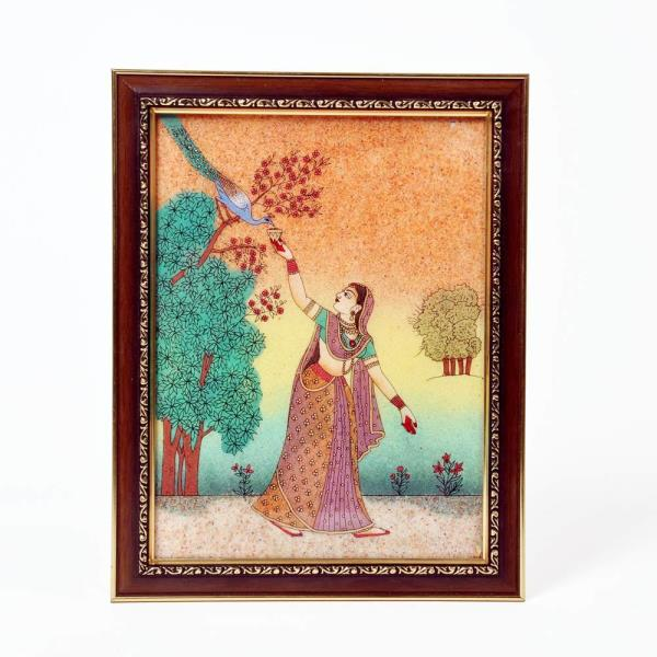 Wooden Handicraft Seller in Ahmedabad.   We are Jaipur (Rajasthan) based Largest Manufacturer and Wholesaler of Decorative Wall Painting. We Export Classic Wall Paitings all Over the World on affordable prices. We are engaged in providing Finest Quality Royal Lady Painting. We have wide range of Value for Money Wall Hanging Gemstone Painting. This Gemstone Painting is prepared by village Craftsman and woman of Rajasthan. Visit our Jaipur factory outlet for Comprehensive Range Of Decorative Items.   Click on the below link to view the product:   http://littleindia.co.in/lady-feeding-peacock-ethnic-gemstone-painting-347/p472