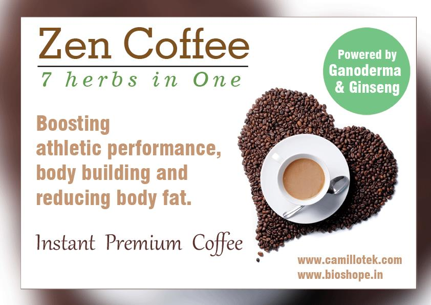 Zen Coffee is Boosting athletic performance, body building, and reducing body fat.  Natural coffee online, 7 adaptogen coffee in India, ganoderma coffee, ginseng coffee, natural instant coffee online, healthy coffee mix, No.1 quality and tasty coffee.  Natural Coffee Manufacturers,  Natural Coffee suppliers,  Natural Coffee exporters wholesalers, traders in chennai, India.