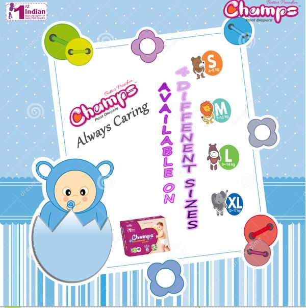 New Champs High Absorbent pants style diapers have extra absorb channels with ADL Technology, that help distribute wetness evenly throughout the pants diapers, so wetness doesn't collect in one place. Their ultra Gel Layer locks wetness inside and offers up to 12 hours of dryness to help your baby sleep  soundly all night.   champs pant style diaper is available in four different sizes. small, medium, large and extra large.  E-mail: wecare@safilocare.com  Contact: 08079444679  Whatsapp: +91 7573040437 / 39   Keywords : Diapers | pant dipers | champs pant diapers | pant style diaper | diaper manufacturer in India | Indian Diapers | Best diapers | distributors in west bengal | superstockiest in west bengal | west bengal